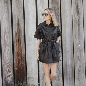 Faux leather mini shirt dress